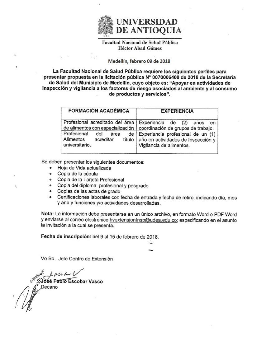 Invitacion Para Presentar Hojas De Vida Para Licitacion Publica